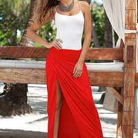 Cami, ruched front maxi skirt by VENUS