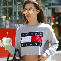 One-nice™ Fashion Tommy Jeans Letter Print Round-neck Long-sleeves Pullover Tops