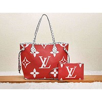 LV fashion hot selling women's casual printed color matching two-piece single-shoulder bag Red