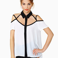White Strappy Pointed Flat Collar Chiffon Short Sleeve Top