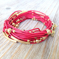 Red and Gold Cord Wrap Bracelet / Necklace