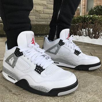 "Air Jordan 4 Retro ""Cement"" sneakers basketball shoes"