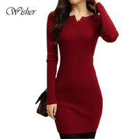 2015 Women Sweater Dress Fashion Knit Long Pullovers Vestidos Sweater Sexy Bodycon Dress High Elastic Sweater Pull Femme