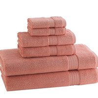 Classic Egyptian Towels | Set of 6 | Wild Salmon