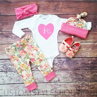Baby Girls Coming Home Outfit,Customize Baby's Initial, Pink Mint Floral Leggings,Hat and Headband,Baby Girls Outfit Set