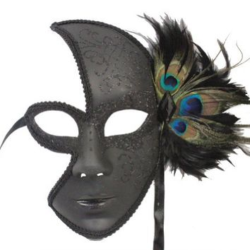 RedSkyTrader Womens Fancy Peacock Feather Mask