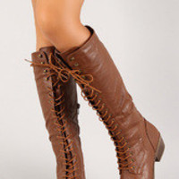 Women's Lace Up Chunky Heel Knee High Military Boot