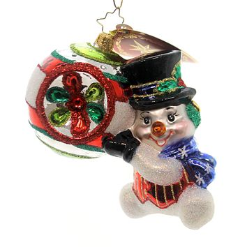 Christopher Radko SHINY & BRITE Glass Ornament Snowman Reflector 1018120
