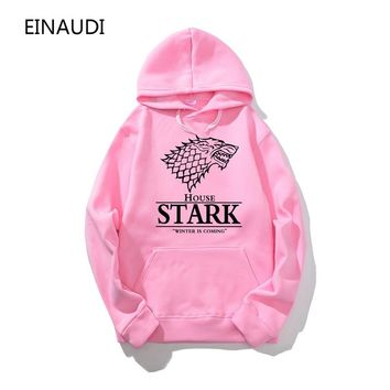 Top quality cotton blend game of thrones men hoodies casual winter is coming house of stark men sweatshirt with hat