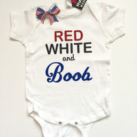 Red White and Boob - Girl Onesuit - Childrens Clothing  - Ruffles with Love - Baby Clothing - RWL Kids