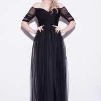 Celebrity Maxi Tulle Capped Evening Prom Women's Black Dress