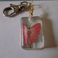 Dark Pink Butterfly with Glitter Resin Keychain