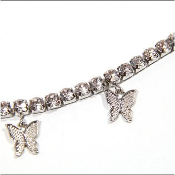 Silver Butterfly necklace choker