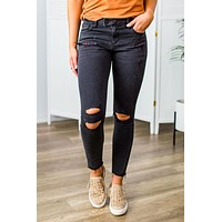 Hidden-Black Distressed Moto Skinny