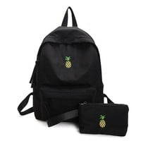 University College Backpack Women  Waterproof Fruit Pineapple Embroidery  2 PCS/Set High  School Students Shoulder BagAT_63_4