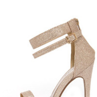 Lupid 2 Champagne Glitter Ankle Strap Heels