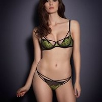 Agent Provocateur ELECTRA Black/Green Bra Thong Brief New w/Tags