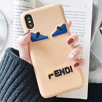 Fendi Fashion New Embroidery Eye Letter Women Men Protective Cover Phone Case