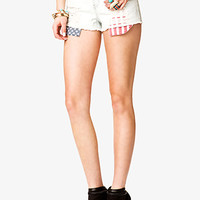 FOREVER 21 Americana Denim Cut Offs Light Denim/Red