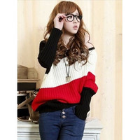 Red Women Bat Wing Sleeves Knitting Fashion Off the Shoulder Sweater One Size D302-2071-34r