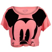 Mickey Mouse - Giant Face Juniors Scoop Neck Half T-Shirt