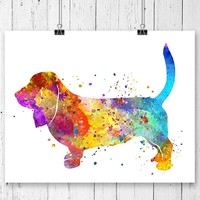 Basset Hound Watercolor Art Print - Unframed