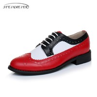 Genuine leather big woman US size 11 designer vintage flat shoes round toe handmade red white black oxford shoes for women fur