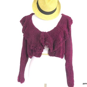 Purple Suede Cropped Cardigan, Maroon Hand Knit Short Sweater