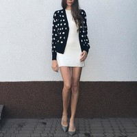 Women Polka Dot Cardigans Sweater Single Breasted Cardigan Coat Autumn Winter Shawl Jacket V Neck Wool Sweater Tops