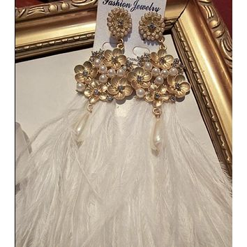 White Feather Ostrich Quality Earrings