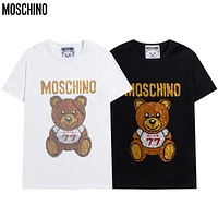 Moschino New Short Sleeve Wearing 77 Sportswear Cute Bear Flashing Middle East Diamond Men's and Women's T-shirt