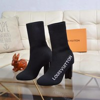 2020 Office New【Louis Vuitton】LV One Word With sock Flat Bottom snow high top boots High Boots DISCOUNT best quality