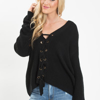 Avery Black Lace Up Sweater
