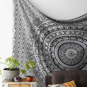 Black and White Tapestry Elephant Mandala