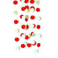 Red and Mint Green Circle Felt Garland - home decor, felt bunting, christmas garland banner, birthday decorations