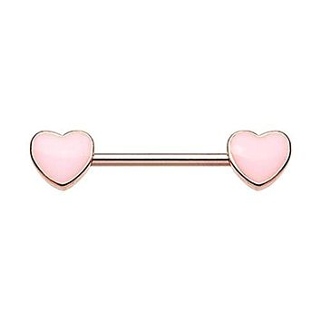 Rose Gold True Love Enamel Heart Inlay WildKlass Nipple Barbell Ring