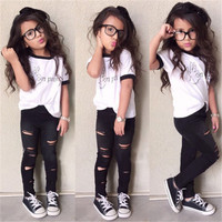 """Toddler Girls T-Shirt and Black Ripped Pants Set """"On Point"""" 2PCS Sizes 3T to 7"""