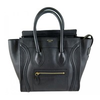 Celine Black Smooth Leather Micro Luggage Tote Bag