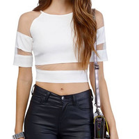 White Mesh Cut-out Cropped Top