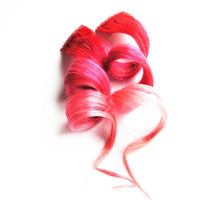 Human Hair Extension, Spring extension hair, hair extension, pink, peach clip in hair, Tie Dye Colored Hair - Doll Face