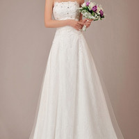 Strapless Applique Beads Empire Chiffon Bridal Gown