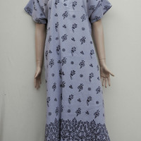 Women's gray colour cotton floral painted summer dress, long tunic, caftan, summer nightie.