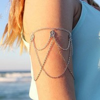 Tonsee Fringed Leaves Arm Harness Slave Chain Cuff Armband Armlet Bracelet