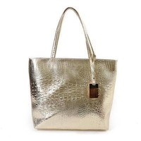 Women's Large Casual Metallic Croc Pattern Shoulder Bag