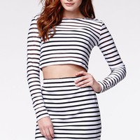 Motel Rocks Bonnie Striped Top - Womens Tee - Black