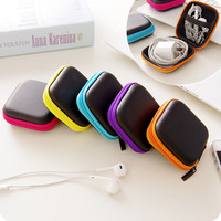 1Pc Headphones Earphone Cable Earbuds Storage Hard Case Carrying Pouch bag SD Card Hold box