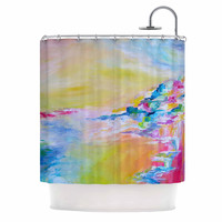 """Ebi Emporium """"Something About the Sea"""" Yellow Multicolor Shower Curtain"""