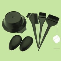 5Pcs Hairdressing Brushes Bowl Combo Salon Hair Color Dye Tint Tool Set Kit Fashion Hair Tools (Color: Black) = 5658562753