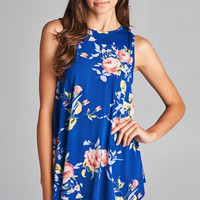 Burst into Bloom Floral Tank Top - Royal