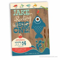 Fishing First Birthday Party Invitations